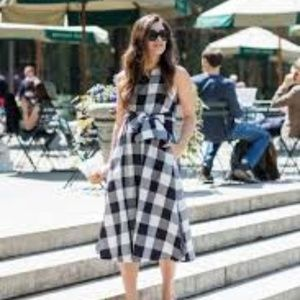 Ann Taylor Gingham Belted Pocket Midi Dress XS